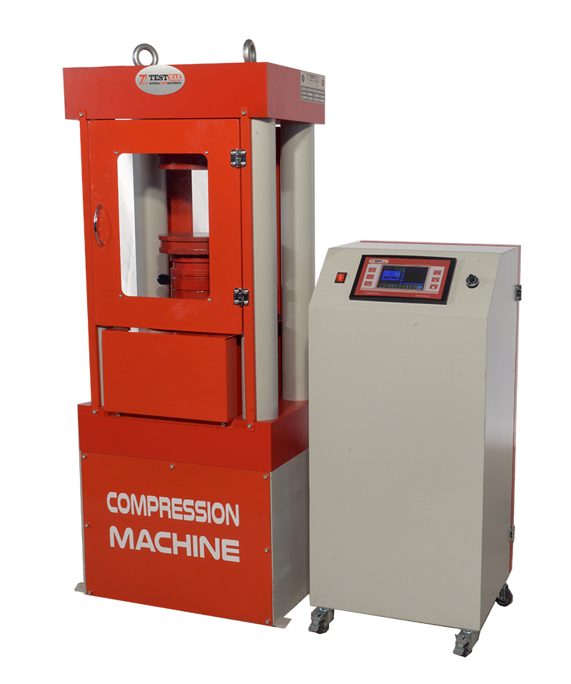 Compression machine 2000 kn, to test cylinder and cube, en, four column